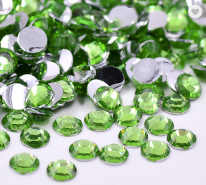 Rhinestones, 1000 stk light green